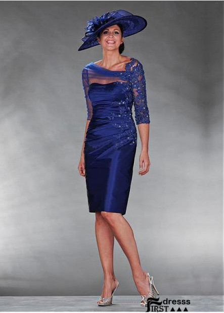 Short Royal Blue Mother Of The Bride Dress With Sleeves