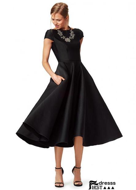 Firstdresss Black Tea Length A Line Mother Gowns US Online Sale