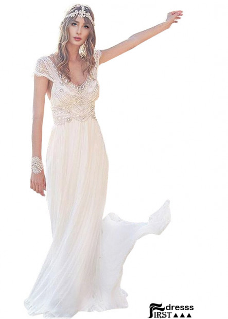 Firstdresss Civil Wedding Dress Top With Beads and Crystals