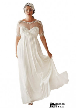 Firstdresss Simple Plus Size Wedding Dress