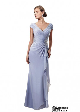 Firstdresss V Neck Chiffon Sheath Mother Of The Bride Dress With Ruched and Beads
