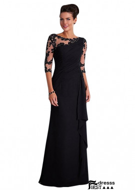 Firstdresss Black Chiffon Mother Of The Bride Dresses With Long Sleeves