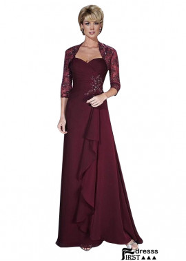 Firstdresss Burgundy Long Sleeve Mother Of The Bride Dresses