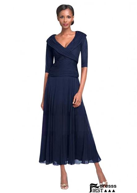 2021 Navy V Neck Short Sleeves Long Mother Of The Bride Dresses