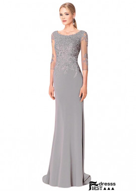 Firstdresss Floor Length Long Sleeves Mother Of The Groom Dresses With Beading