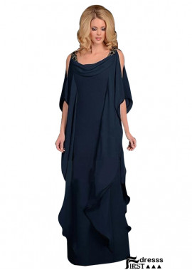 Navy Blue Chiffon Long Mother Of The Bride Dresses USA Online