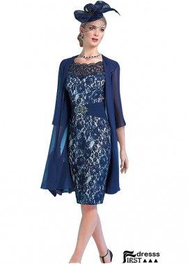 Blue Short Mother Of The Bride Outfits With Jacket