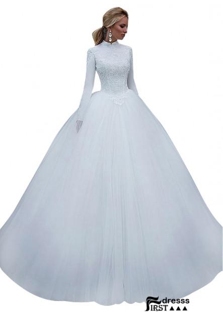 Firstdresss Ball Gowns High Neck Long Sleeves Princess Wedding Dress