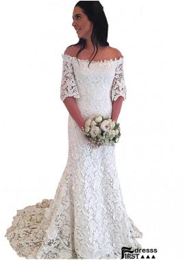 Firstdresss Lace Sheath Wedding Dress With Sweep Train