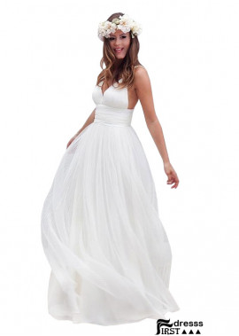 A line Beach Simple Chiffon Wedding Dresses US